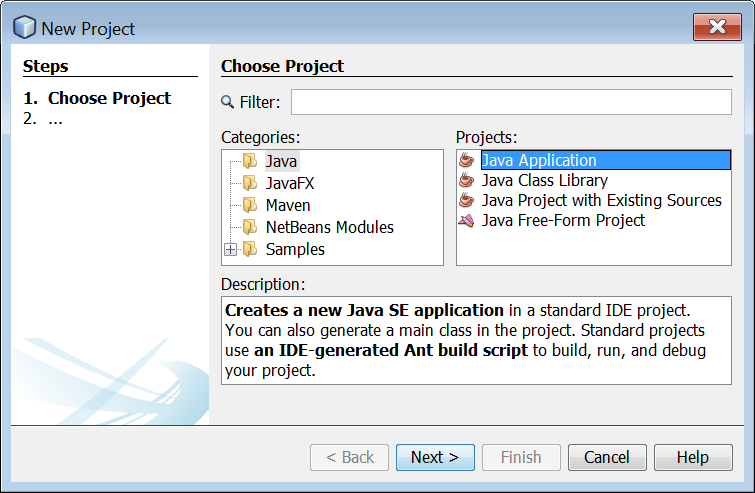 Creating a New Java Project in Netbeans IDE – Aristides S